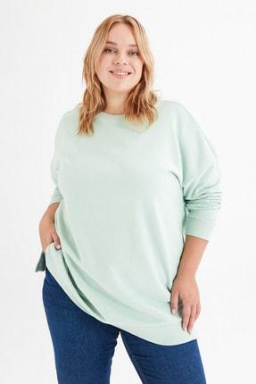 LC Waikiki Kadın Açık Yeşil Büyük Beden T-Shirt 2