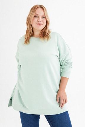 LC Waikiki Kadın Açık Yeşil Büyük Beden T-Shirt 4