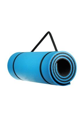 Walke 16 Mm Pilates Kamp Matı Mavi Siyah Taşıma Askılı 2