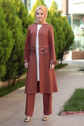 Emsale Kadın Taba Halin Ceket Pantolon Takım 0