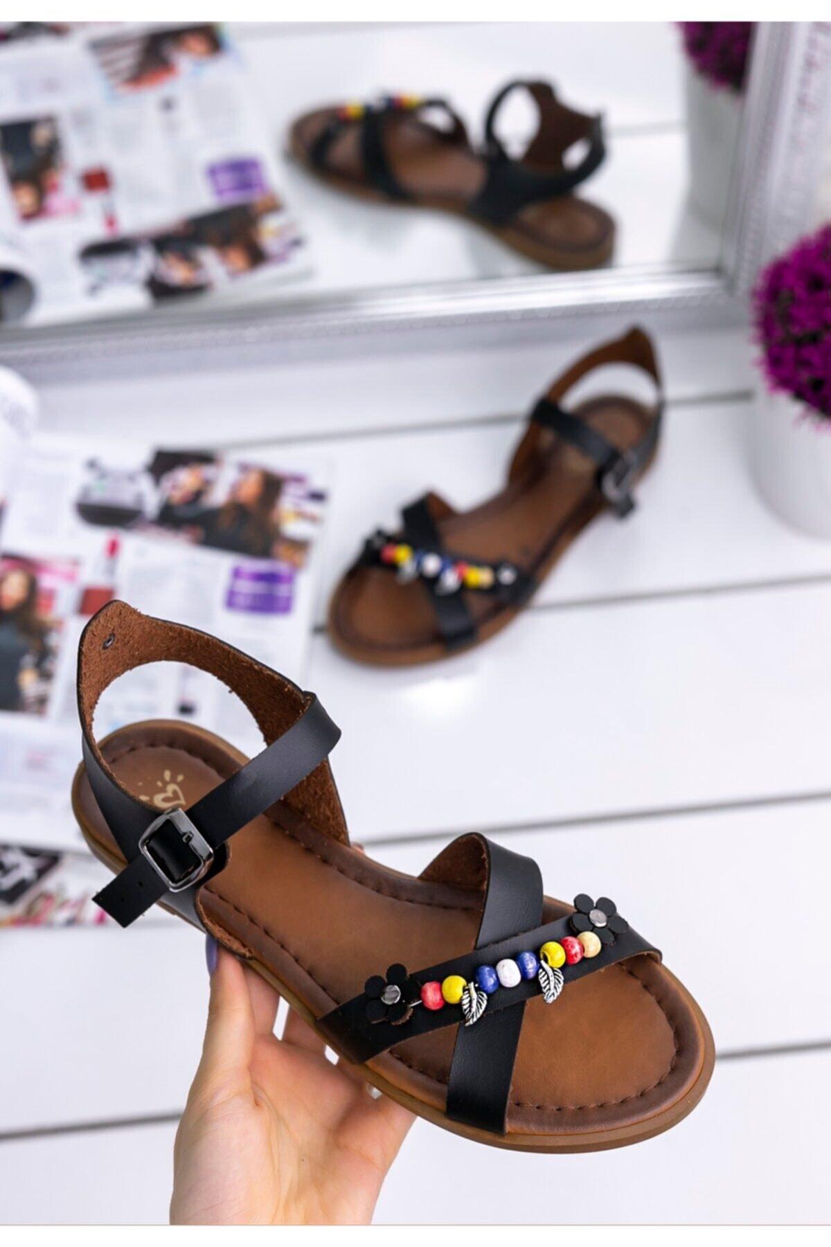 Merkatik Kadın Siyah Tammi Cilt Sandalet
