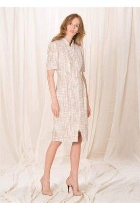 BİRELİN Kadın Pembe Yarım Kollu Tüvit Elbise 1