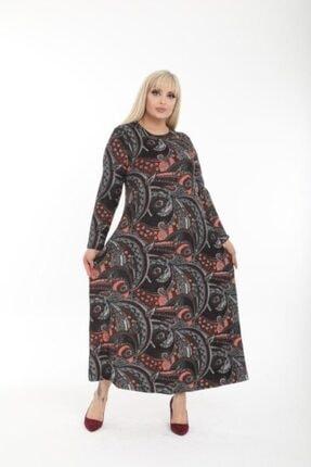 Şirin Butik Kadın Büyük Beden Yaka Pervazlı Elbise 2