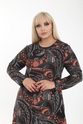 Şirin Butik Kadın Büyük Beden Yaka Pervazlı Elbise 3