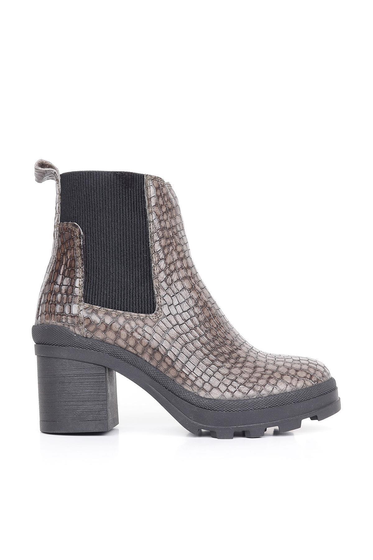 BUENO Kadın Gri Shoes Deri Topuklu Bot 01wr0503