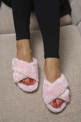 OCT Shoes Kadın Pembe Çapraz Peluş Ev Terliği 1026 0