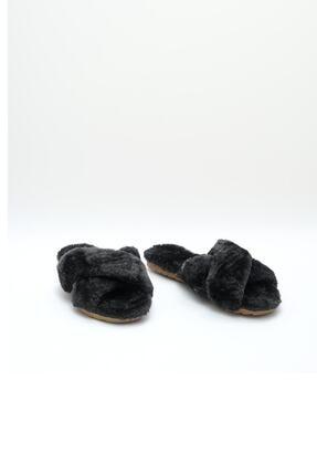 OCT Shoes Kadın Siyah Çapraz Peluş Ev Terliği 1026 2