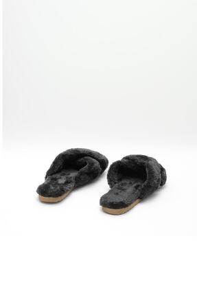 OCT Shoes Kadın Siyah Çapraz Peluş Ev Terliği 1026 3