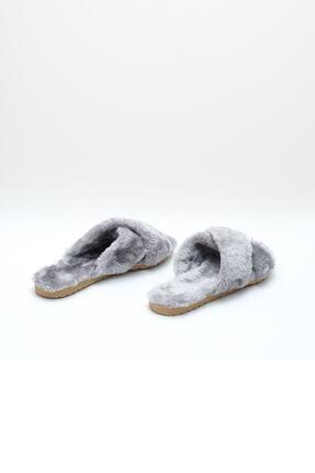 OCT Shoes Kadın Gri Çapraz Peluş Ev Terliği 1026 3