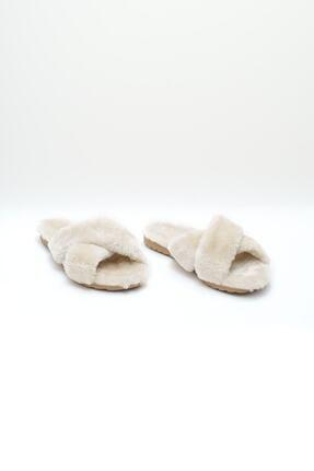 OCT Shoes Kadın Bej Çapraz Peluş Ev Terliği 1026 2