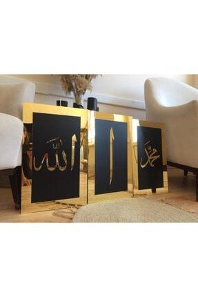 ST Design Mdf Üzeri Aynalı Pleksi Allah Muhammed Elif Tablo/tablo Seti Siyah-gold 1