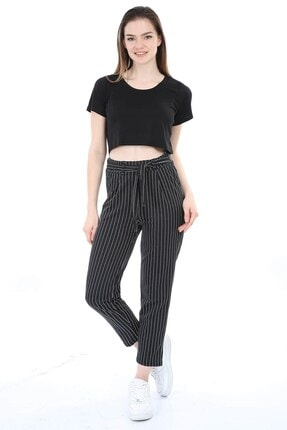 Mossta Kadın Siyah Kuşaklı Çizgili Pantolon 3
