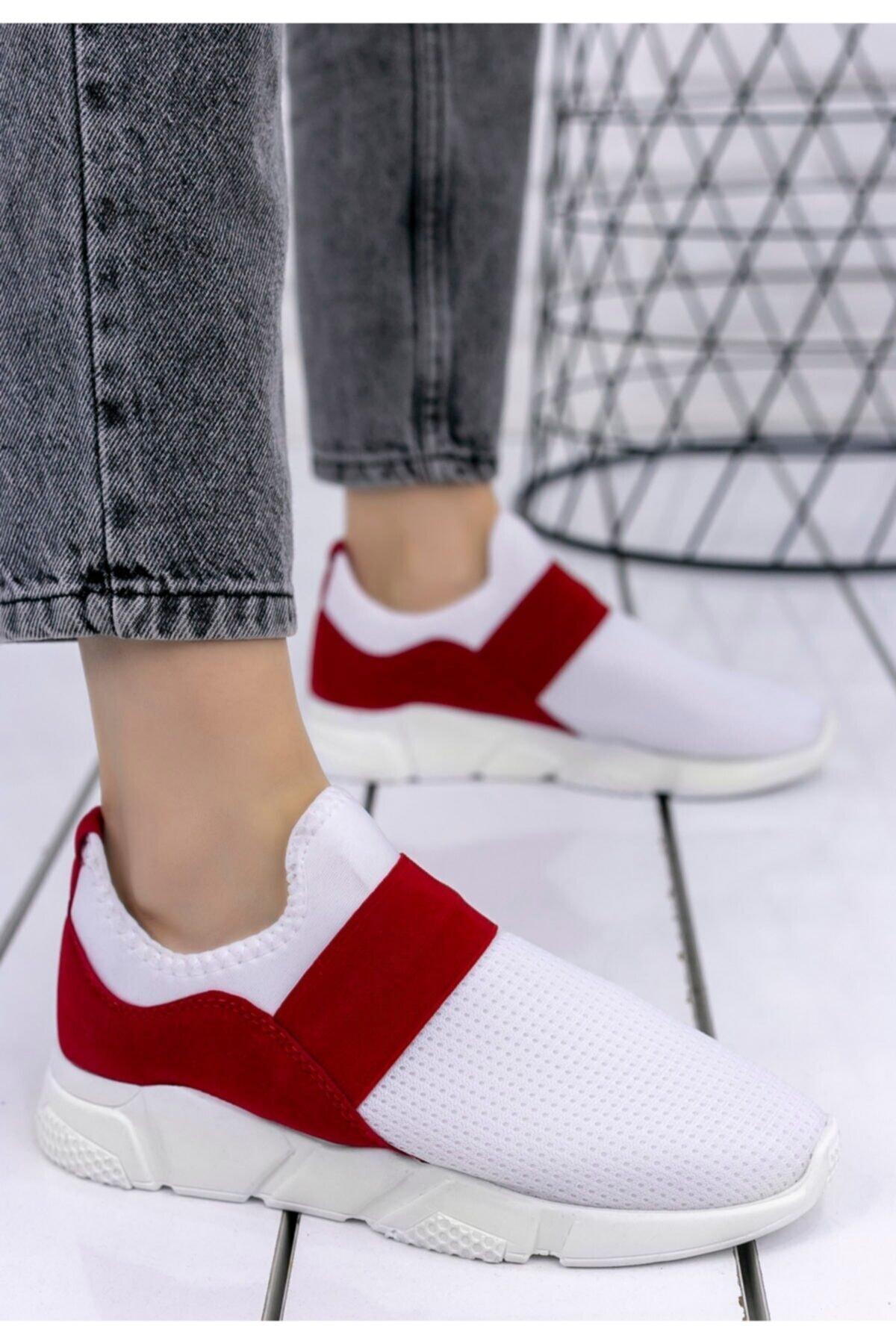 Merkatik Kadın Beyaz Streç Kırmızı Detaylı Spor Ayakkabı