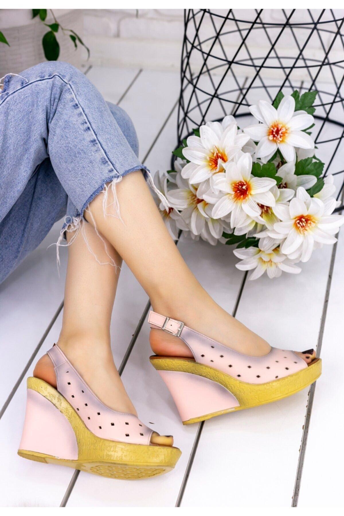Merkatik Kadın Martina Pudra Cilt Dolgu Topuk Ayakkabı