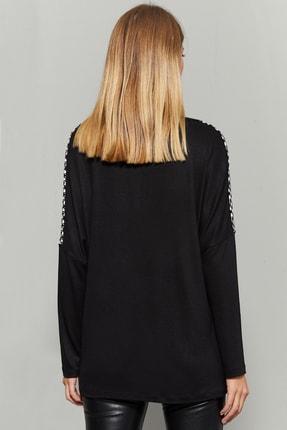 Cool & Sexy Kadın Siyah Kazayağı Desenli Bloklu Bluz TZ129 2
