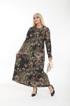 Şirin Butik Kadın Haki Büyük Beden Yaka Pervazlı Elbise 2