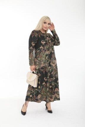 Şirin Butik Kadın Haki Büyük Beden Yaka Pervazlı Elbise 3