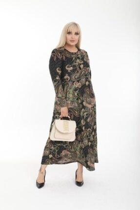 Şirin Butik Kadın Haki Büyük Beden Yaka Pervazlı Elbise 4