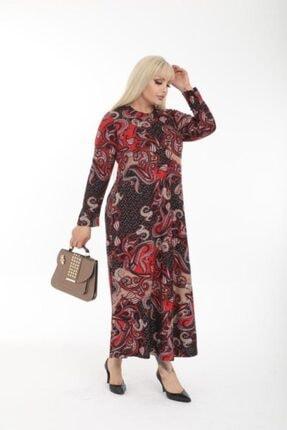 Şirin Butik Kadın Kırmızı Büyük Beden Yaka Pervazlı Elbise 2