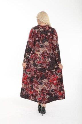 Şirin Butik Kadın Kırmızı Büyük Beden Yaka Pervazlı Elbise 4