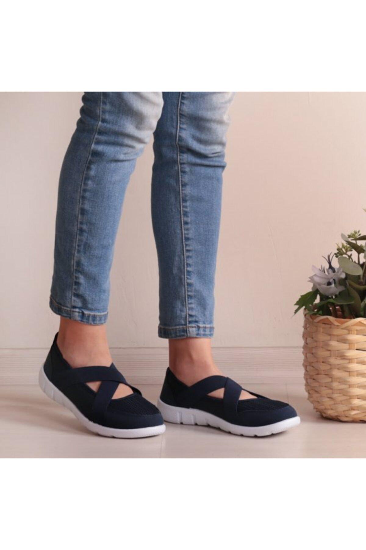 WoW Ayakkabı Kadın Lacivert Beyaz Yazlık Spor Ayakkabı