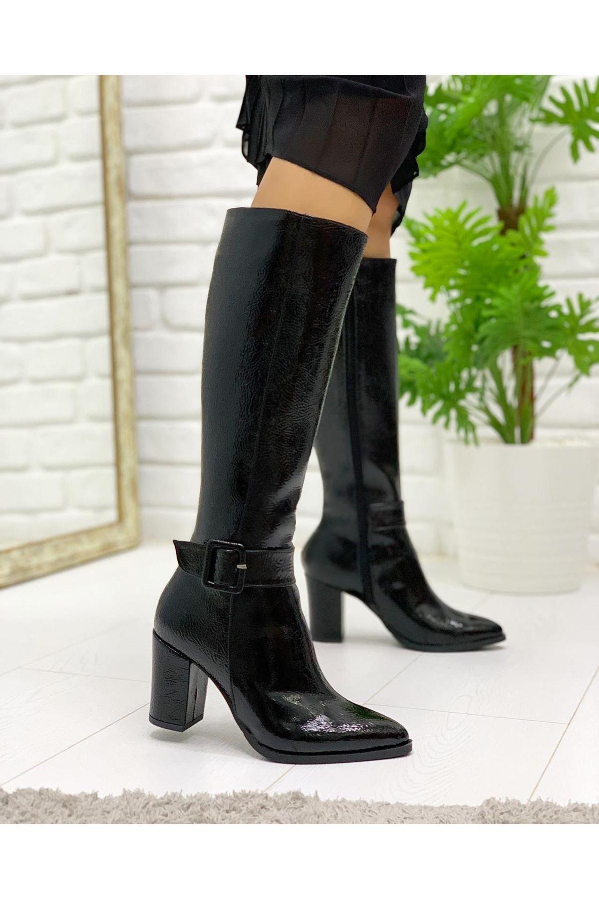 Pabuç Kadın Siyah Rugan Çizme