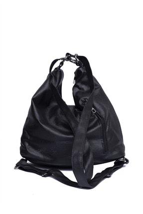 Tonny Black Kadın Siyah Yıkamalı Kilit Detaylı Salaş Kol ve Sırt Çantası Tbc35 2