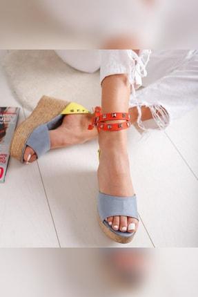 Limoya Amaia Bebe-Mavi Limon Portakal Süet Zımba Detaylı Dolgu Topuklu Sandalet 2