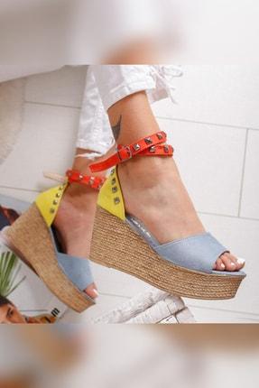 Limoya Amaia Bebe-Mavi Limon Portakal Süet Zımba Detaylı Dolgu Topuklu Sandalet 3