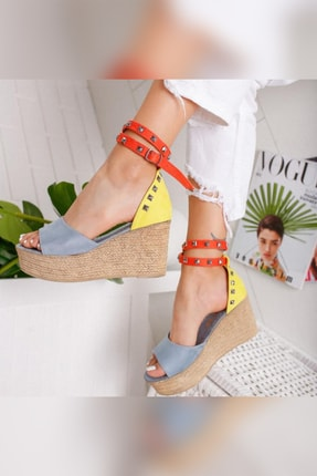 Limoya Amaia Bebe-Mavi Limon Portakal Süet Zımba Detaylı Dolgu Topuklu Sandalet 4