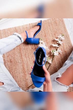 Limoya Averi Sax Süet 6cm Topuklu Tek Bantlı Sandalet 4
