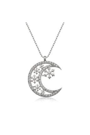 ?gümüş Ay Kar Tanesi Bayan Kolye T4178