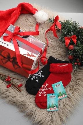 Mudiso Unisex Kırmızı Siyah Hediye Kutulu 2'li Termal Kar Tanesi Desenli Çorap 0