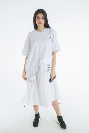 VorNişantaşı Kadın Beyaz Tasarım Kapşonlu Elbise 1