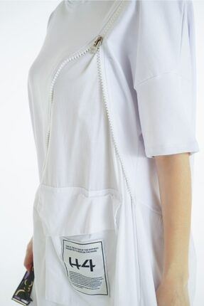 VorNişantaşı Kadın Beyaz Tasarım Kapşonlu Elbise 2