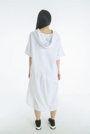 VorNişantaşı Kadın Beyaz Tasarım Kapşonlu Elbise 4