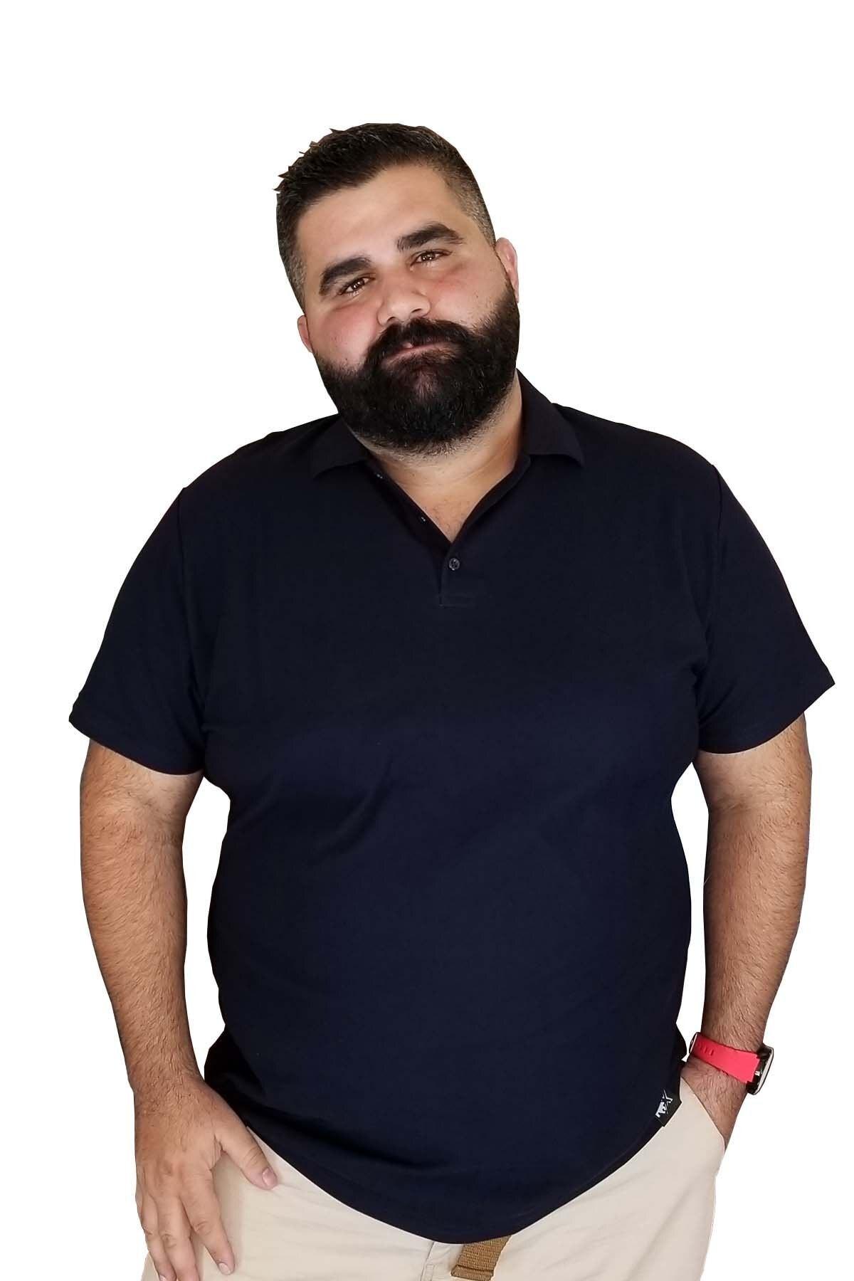 Erkek Lacivert Büyük Beden Polo Yaka Cepsiz T-shirt