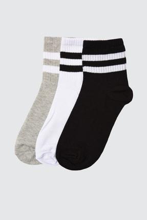 TRENDYOLMİLLA Beyaz Şerit Detaylı 3'lü Paket Örme Çorap TWOAW20CO0054 0