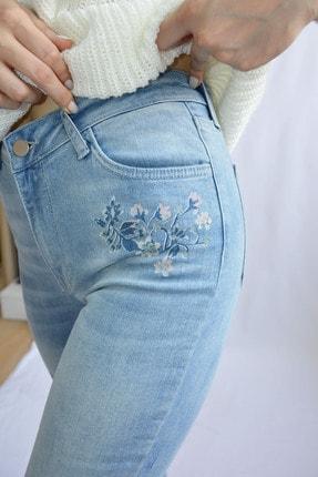 Denim FORM Kadın Mavi Çiçek Desenli Jeans Frm3481tn 0