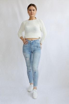 Denim FORM Kadın Mavi Çiçek Desenli Jeans Frm3481tn 1
