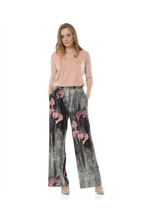 BİRELİN Kadın Gri Desenli Pantolon 0