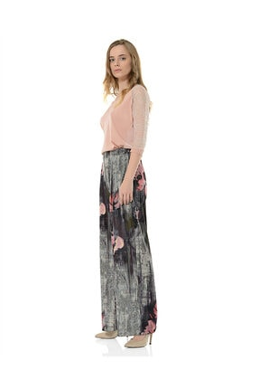 BİRELİN Kadın Gri Desenli Pantolon 1
