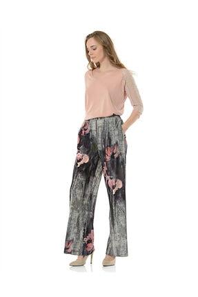 BİRELİN Kadın Gri Desenli Pantolon 2