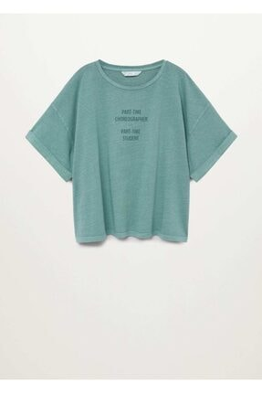تصویر از Çocuk Yeşil Yazılı Organik Pamuklu T-Shirt