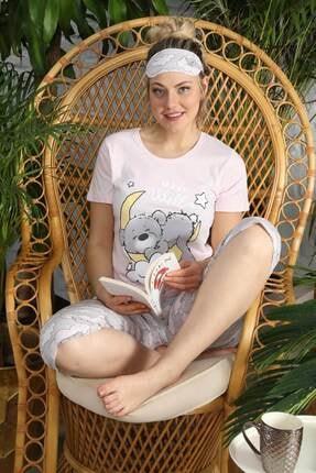 Mossta Kadın Pembe Kısa Kol Kapri Pijama Takım 0
