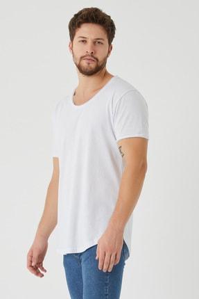 Tarz Cool Erkek Beyaz Pis Yaka Salaş T-shirt 1