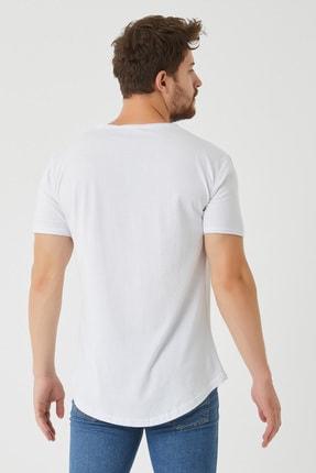Tarz Cool Erkek Beyaz Pis Yaka Salaş T-shirt 3