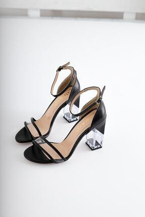 Limoya Kadın Siyah Kırışık Rugan Şeffaf Bantlı Ve Şeffaf Topuklu İnce Kemerli Sandalet 0