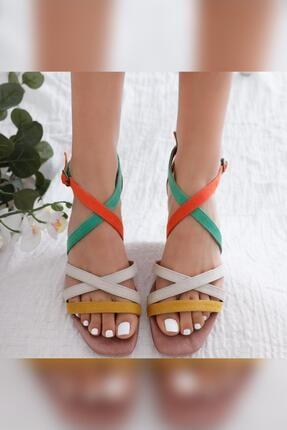 Limoya Kadın Malaya Yeşil Portakal Ten Hardal Süet Multi Alçak Topuklu Sandalet 1