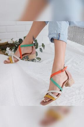 Limoya Kadın Malaya Yeşil Portakal Ten Hardal Süet Multi Alçak Topuklu Sandalet 3